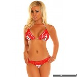 Daisy Beachwear Women's Pin-Up Cherry Print Pucker Back Bikini Red B01C4O5Y5A