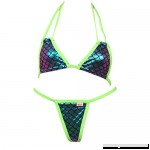 Double Halter Scales Bikini and G-String Thong Set Neon Green B07BTKXLFB