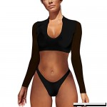 Funic Long Sleeve Bikini Plunge Wrap Two Piece Swimsuit Set for Women Beachwear Black B07M76Z2C1