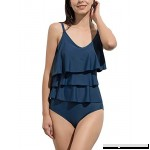 Women's Summer One Piece Swimsuits Ruffled Swimwear 2 Piece Tankini Set Bathing Suit Navy Blue B07M7CCMCL