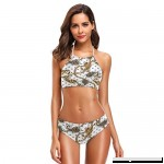 ZZKKO Leopard Print Paisley Bikini Swimsuit Womens High Neck Halter Two Piece Bathing Suit  B07N7D4HGQ