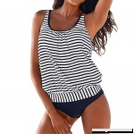 cobcob Women 2 Pieces Tankini Striped Vintage Sling top with High Waist Bottom Beachwear Swimsuit Set Navy B07P1Z4PXB